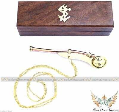 Brass / Copper Boatswain Whistle w/ Box ~ Bosun Call Pipe  Nautical Maritime