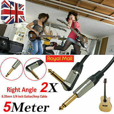 New 5m GOLD Right Angle MONO Jack 6.35mm 1/4 inch Guitar/Amp Cable Lead UK