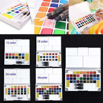 Solid Watercolor Paint Box With Paintbrush Portable Watercolor 2019 New
