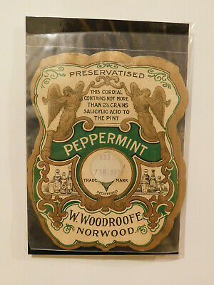 ANTIQUE BOTTLE  W WOODROOFE NORWOOD PEPPERMINT CORDIAL LABEL VERY RARE 1890's