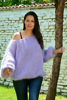 Designer mohair sweater fuzzy hand knitted fluffy Lilac jumper by EXTRAVAGANTZA