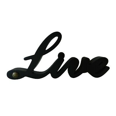 "Black Wooden Words Sign Free Standing ""Live"" Desk/Shelf/Home Wall/Office Decor"