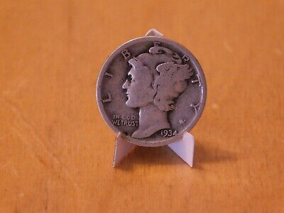 1934 US Silver Mercury Winged Liberty 10 Cent Dime