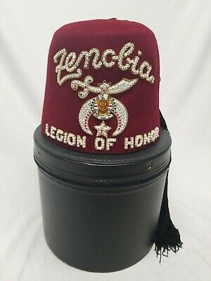 Shriners Fez Zenobia Bejeweled Burgundy Hat Box With Handle VG