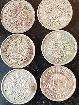 6 X 1930s Threepence Coins Mixed Condition.