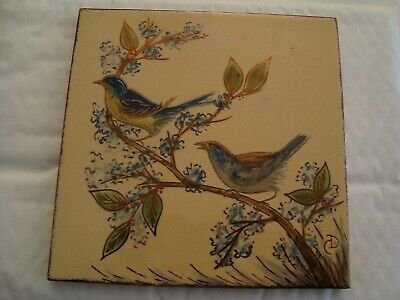 Aesthetic style signed 8 inch ceramic Bird Tile    20/103