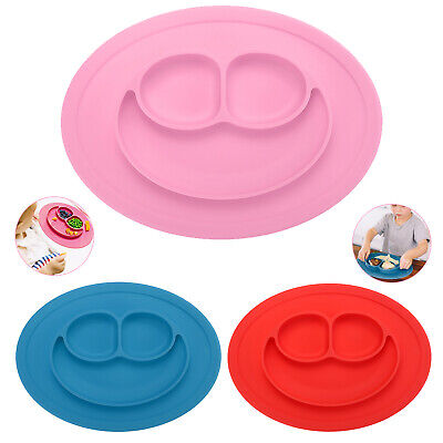 Cute Silicone Happy Mat Baby Kids Suction Table Food Tray Place Mat Plate Bowl