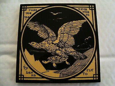 Mintons Moyr Smith Tile - Aesops - Tortoise which wished to learn to fly  20/100