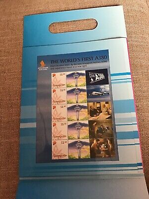 Singapore Airlines World's First Airbus A380 5 Stamps Presentation Pack Airways