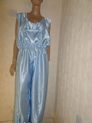 """ADULT BABY SISSY all-in-one BABY BLUE SATIN DUNGAREES / SLEEPSUIT LARGE 48-52""""C"""