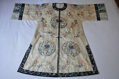 Antique Chinese Silk Embroidery Robe Broderie Chinoise