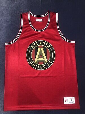 b218756d Atlanta United FC MLS Men's Red Mitchell And Ness Soccer Basketball Jersey  Sz L