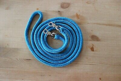 Hand made horse finesse reins. Low stretch polyester rope. Blue.