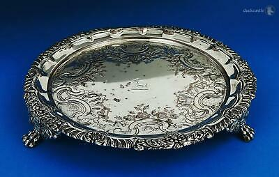 George III OLD SHEFFIELD PLATE Footed WAITER / CARD TRAY c1815 Lion Paw CRESWICK
