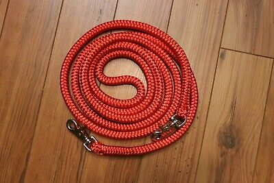 Horse hand made 10' low stretch polyester finesse reins. Red.