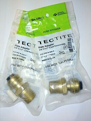 """(Lot of 2) Tectite Sharkbite Style Push Fit 3/8"""" x 1/2"""" MPT Male Adapter, Brass"""