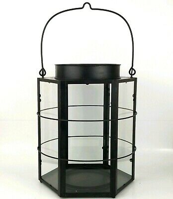 Black Iron Farmhouse Porch or Stage Coach Large Hanging Hexagon Candle Lantern