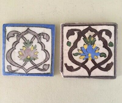 2 X Vintage antique Art Nouveau / Victorian fireplace / hallstand / wall tiles