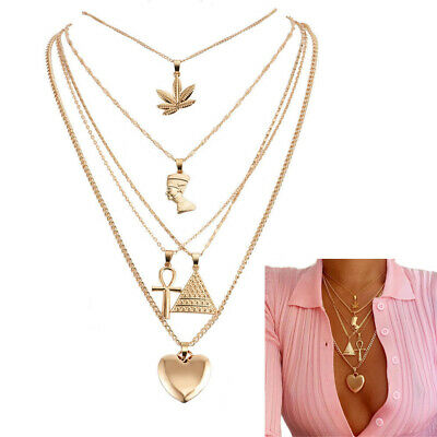 Cross  Multilayer Clavicle Chain Punk Necklaces Peach Heart  Portrait Pendant