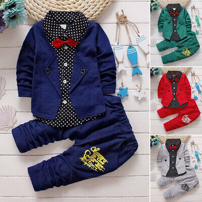 Toddler Baby Boy COtton Long Sleeve Tops+Long Pants Outfits Gentleman Set
