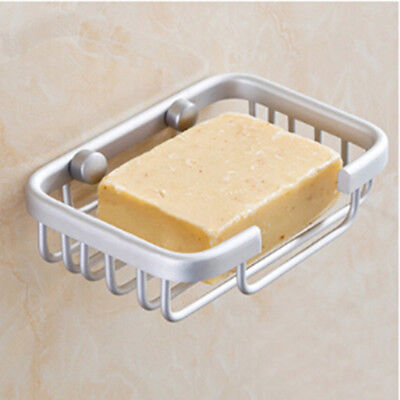 Hollow Metal Wall Fixed Bathroom Shower Soap Dish Holder Cup Tray Water Drain HS