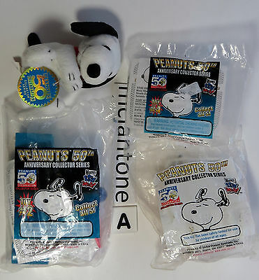 MIP 3+1 LSE LOT=A Wendy's 2000 PEANUTS 50TH ANNIVERSARY Snoopy DOG Red Baron TOY