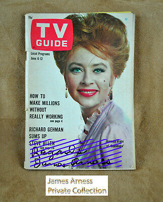 "James Arness Gunsmoke Marshal Dillon VTG TV Guide 1964 ""Miss Kitty"" Signed"