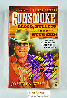 "James Arness Gunsmoke Marshal Dillon ""Blood, Bullets & Buckskin"" Signed"