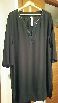93ac6d5f7a Calzedonia Beach Holiday Tunic Dress Cover Up Black Sequined Neckline Size  Xl..