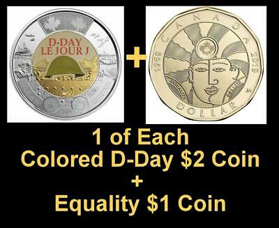 2019 CANADA 🍁 D-Day $2 Dollar Coin - Colored + $1 EQUALITY $1; BU from roll;🍁