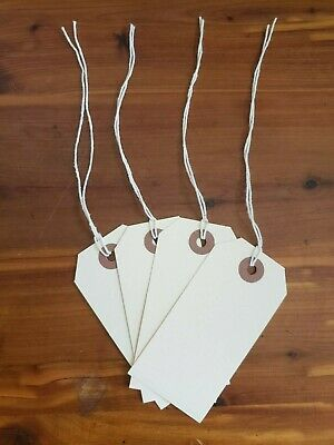 """100 - MANILA INVENTORY SHIPPING TAGS SIZE #3 WITH STRING - 1 7/8"""" x 3 3/4"""""""