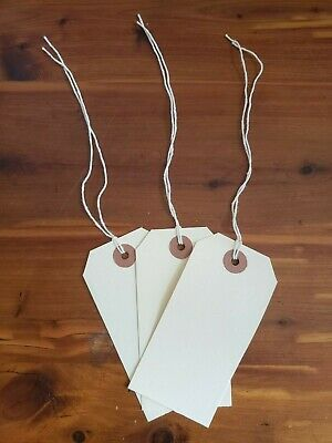 """100 - MANILA INVENTORY SHIPPING TAGS SIZE #4 WITH STRING - 2 1/8"""" x 4 1/4"""""""