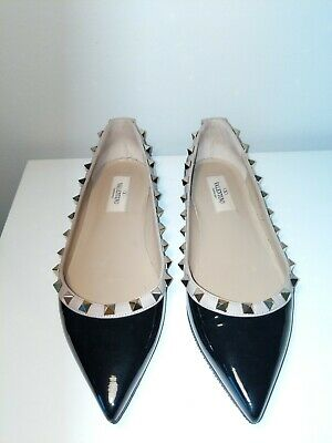 32867898a96f3 Valentino Garavani Rockstud Pointed Black Studded Ballet Flats Shoes euro 37 /6.5