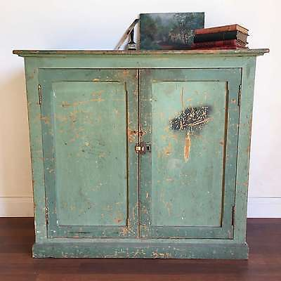 French Vintage Industrial Cabinet Painted Green Rustic Pine Cupboard - TM185-1
