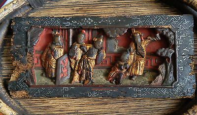 Antique CHINESE CARVED PANEL tableau 100- 200 years figures Figural Unique Gift