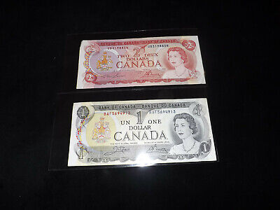 Bank Of Canada Lot - 1974 $2.00 & 1973 $1.00 Notes =.