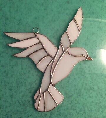 """White Dove -Handcrafted - Stained Glass - Sun Catcher - 8"""" x 8""""- Home Decor"""
