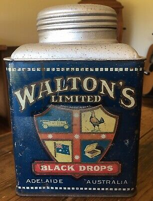 Old Waltons, Adelaide, Black Drops Lolly, Sweets, Candy, Tea Tin. Good Condition