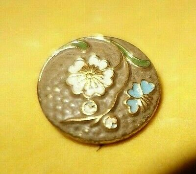 Antique vintage art nouveau enamel button on metal flowers butterfly design
