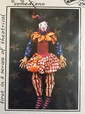 Cloth Doll Sewing Pattern - harlequin clown jester theatre art toy gift craft