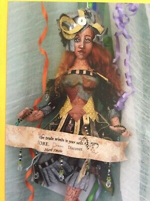 Cloth Doll Sewing Pattern - collage textile art lady doll gift toy craft