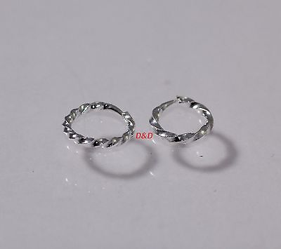 9mm High Quality Small 925 Sterling Silver thin men woman hoops Earrings