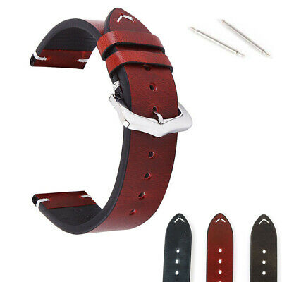 Genuine Leather Watch Replacement Band 18 20 22mm Quick Release Pin Wrist Strap