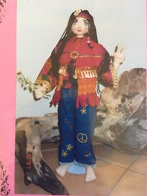 Cloth Doll Sewing Pattern - hippy 70s flower child lady gift toy craft