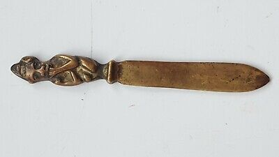 "Small Vintage Brass Letter Opener Tribal Native Figure Handle 3.5"" Long"
