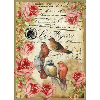 Rice Paper - Decoupage - Stamperia - 1 x A4 Size Sheet - Birds