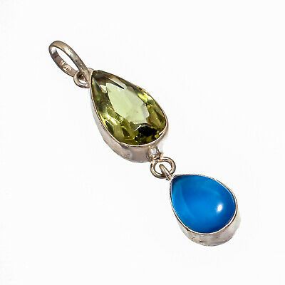 Blue Cat Eye,Green Amethyst Natural Gemstone Silver Plated Jewelry Pendant 2.18""