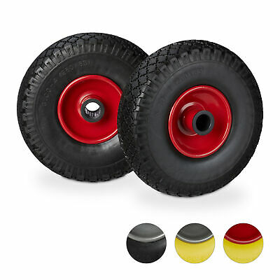 Solid Rubber Spare Tyre for Hand Trucks, Steel Rim, 25 mm, Set of 2, For 150 kg