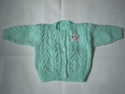 """NEW Hand Knitted Baby Cardigan In green Colour  Size -18"""" (46cm)"""