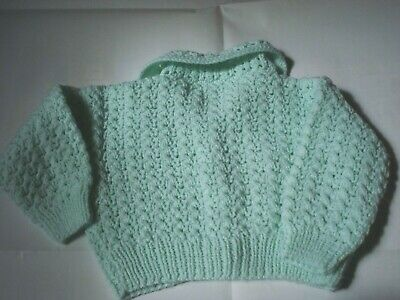 """NEW Hand Knitted Baby Cardigan In green Colour  Size -24"""" (61cm)"""
